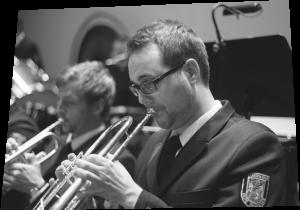 Trompeter während das Spiels.
